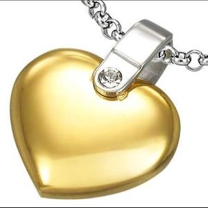 Stainless Steel 2 Tone Love Heart Pendant W/ CZ